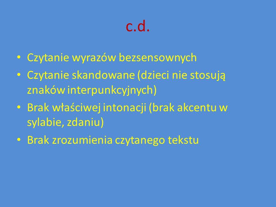 c.d. Czytanie wyrazów bezsensownych