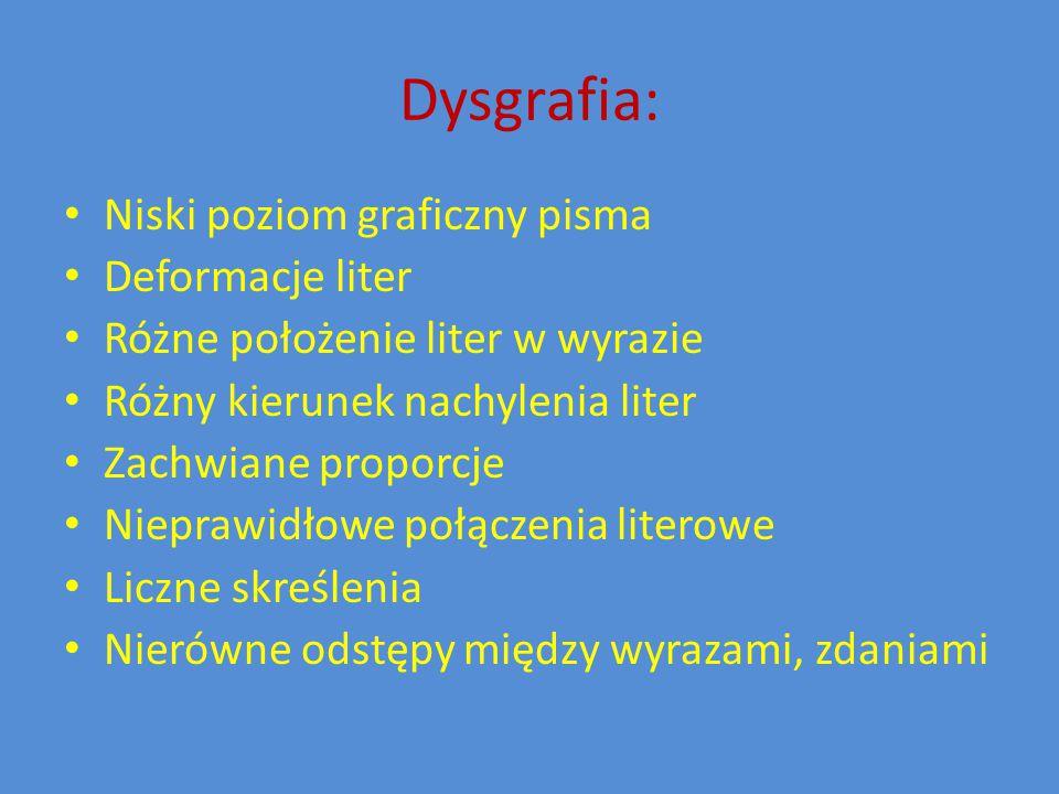 Dysgrafia: Niski poziom graficzny pisma Deformacje liter