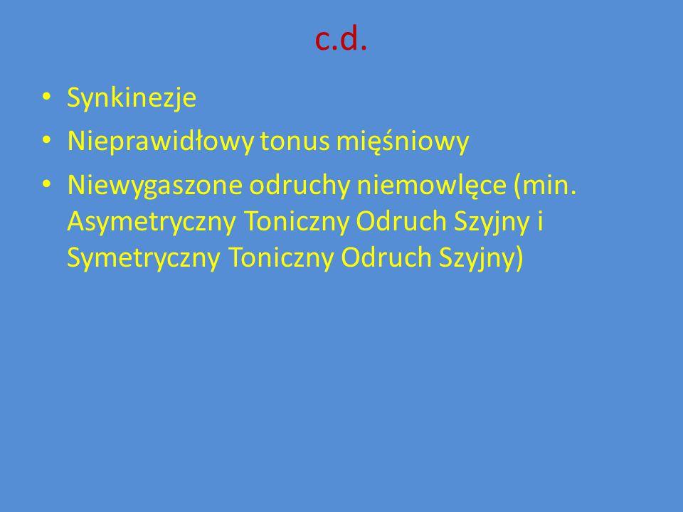 c.d. Synkinezje Nieprawidłowy tonus mięśniowy