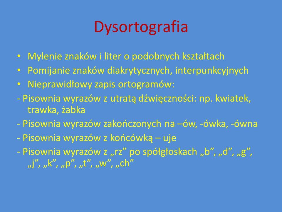 Dysortografia Mylenie znaków i liter o podobnych kształtach
