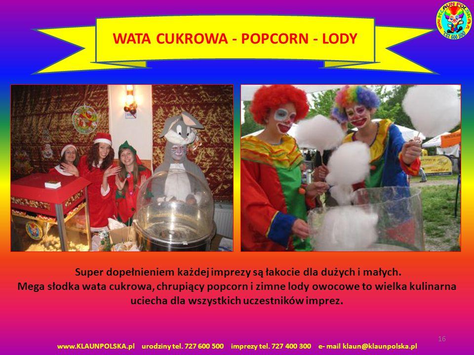 WATA CUKROWA - POPCORN - LODY