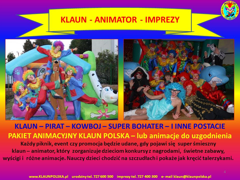 KLAUN - ANIMATOR - IMPREZY