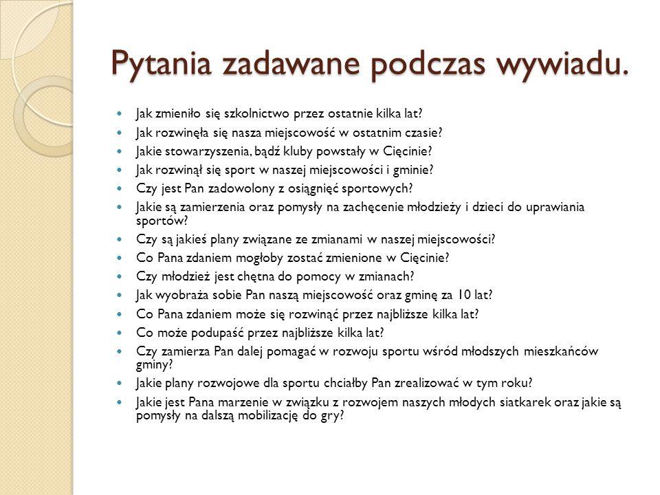 Pytania zadawane podczas wywiadu.
