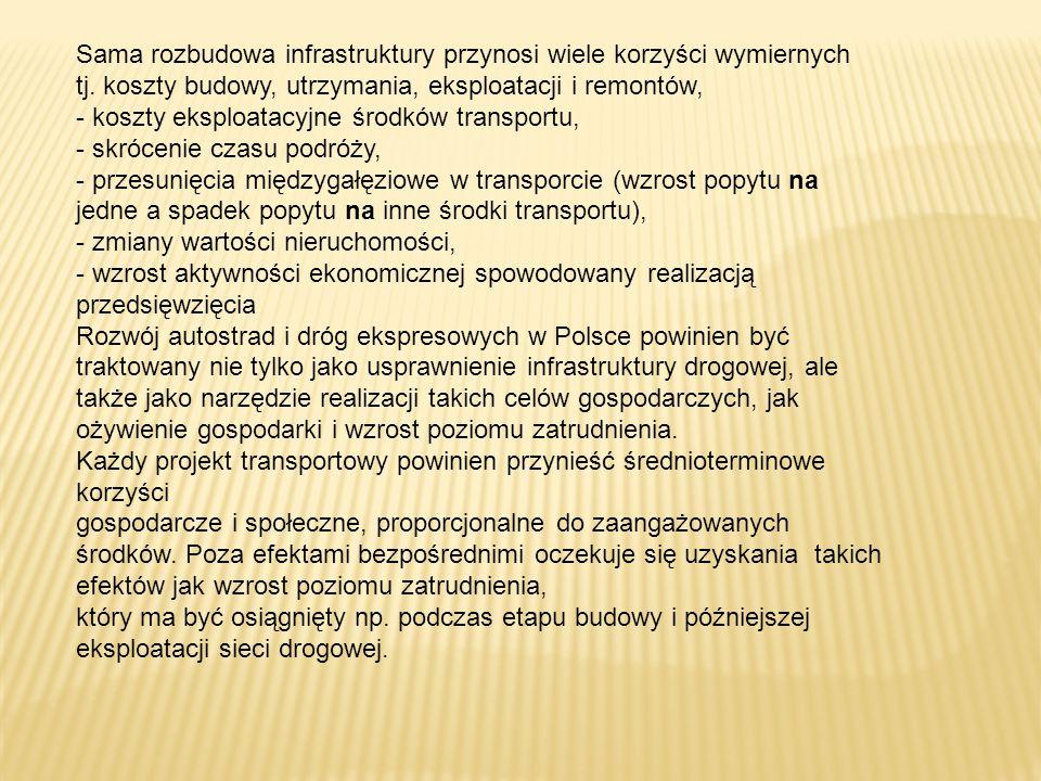 Sama rozbudowa infrastruktury przynosi wiele korzyści wymiernych