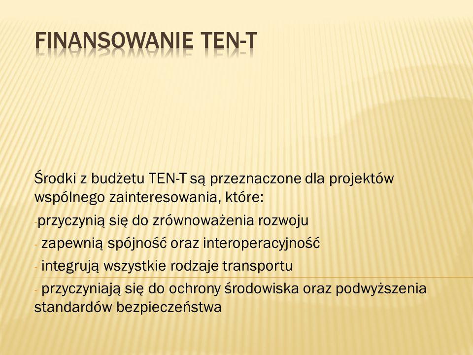 Finansowanie TEN-T Środki z budżetu TEN-T są przeznaczone dla projektów wspólnego zainteresowania, które: