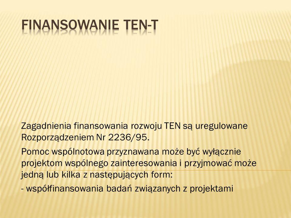 Finansowanie TEN-T Zagadnienia finansowania rozwoju TEN są uregulowane Rozporządzeniem Nr 2236/95.