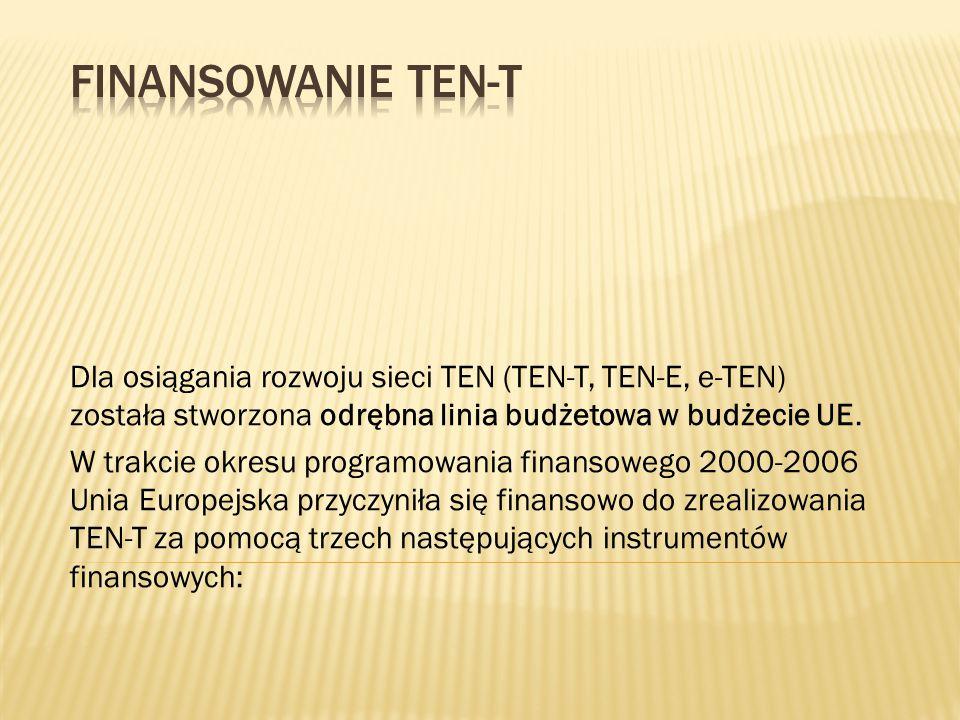 Finansowanie TEN-T Dla osiągania rozwoju sieci TEN (TEN-T, TEN-E, e-TEN) została stworzona odrębna linia budżetowa w budżecie UE.