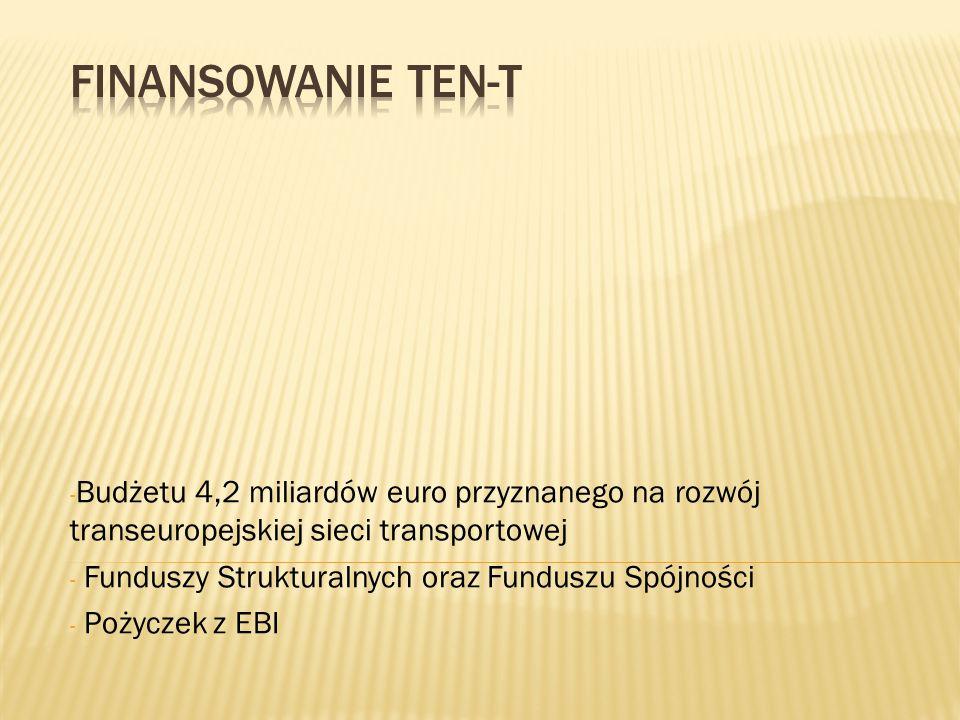 Finansowanie TEN-T Budżetu 4,2 miliardów euro przyznanego na rozwój transeuropejskiej sieci transportowej.