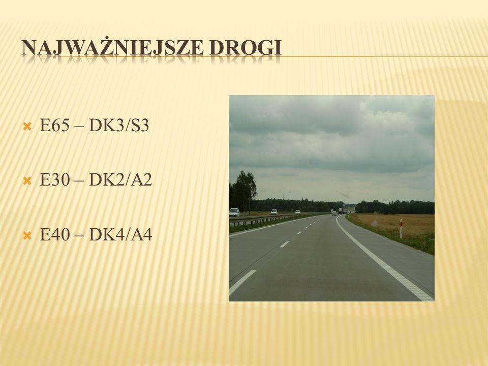 NAJWAŻNIEJSZE DROGI E65 – DK3/S3 E30 – DK2/A2 E40 – DK4/A4