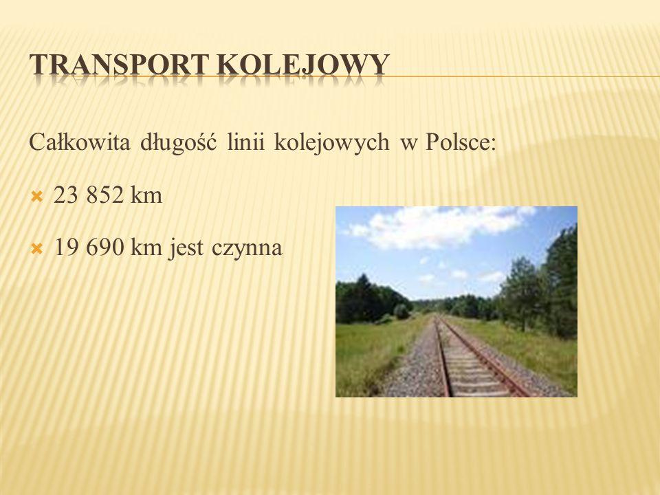 TRANSPORT KOLEJOWY Całkowita długość linii kolejowych w Polsce: