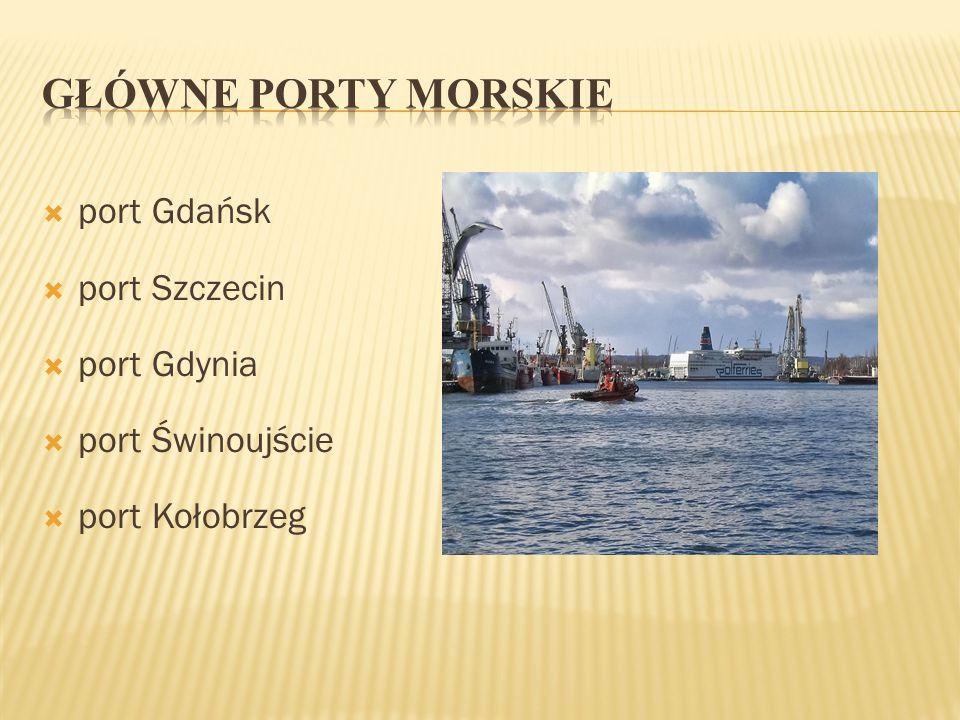 GŁÓWNE PORTY MORSKIE port Gdańsk port Szczecin port Gdynia
