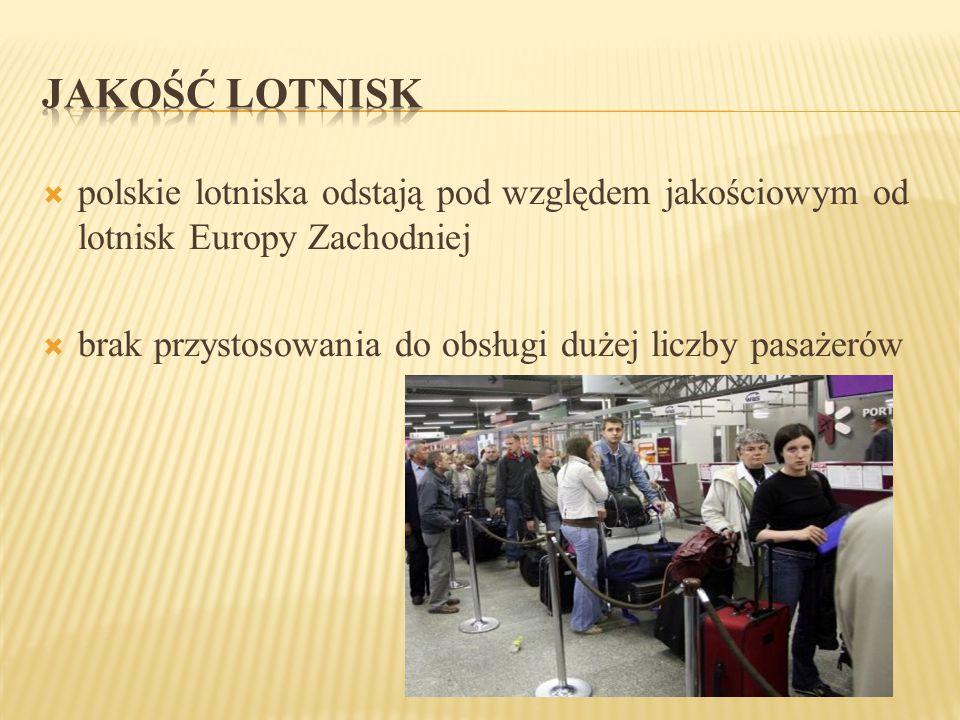 JAKOŚĆ LOTNISK polskie lotniska odstają pod względem jakościowym od lotnisk Europy Zachodniej.