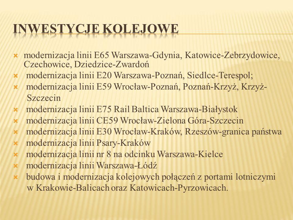INWESTYCJE KOLEJOWE modernizacja linii E65 Warszawa-Gdynia, Katowice-Zebrzydowice, Czechowice, Dziedzice-Zwardoń.