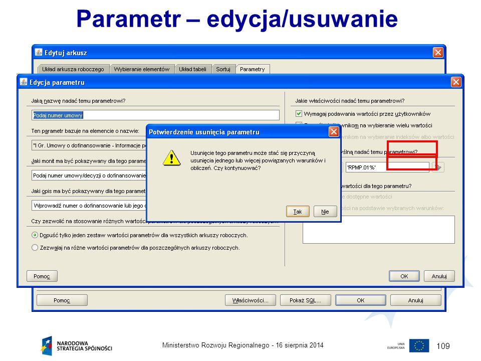 Parametr – edycja/usuwanie