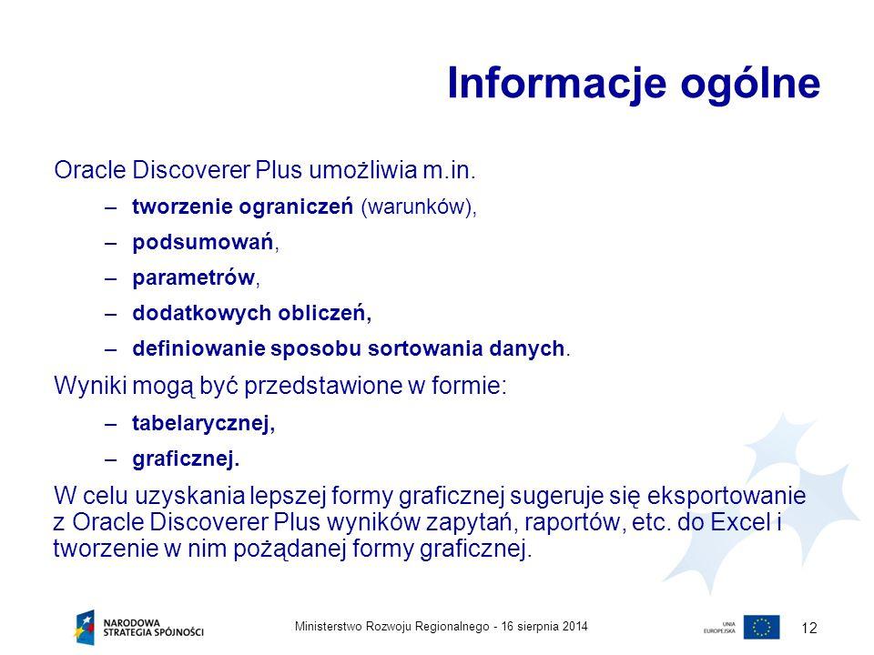 Informacje ogólne Oracle Discoverer Plus umożliwia m.in.