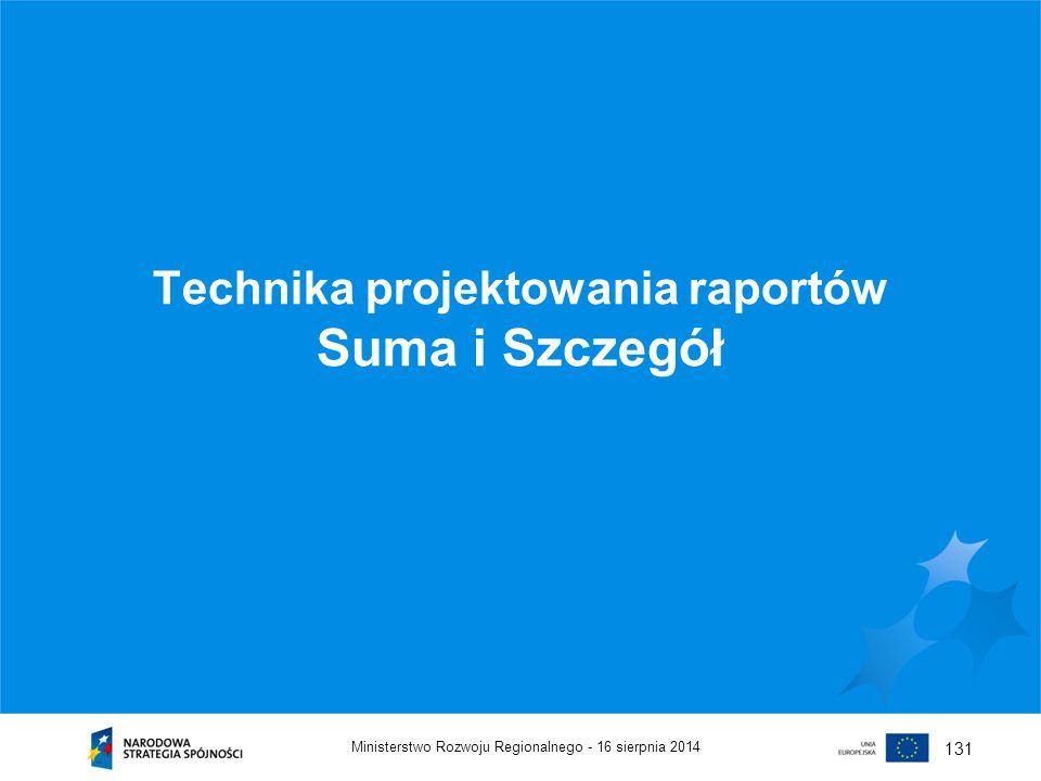 Technika projektowania raportów Suma i Szczegół