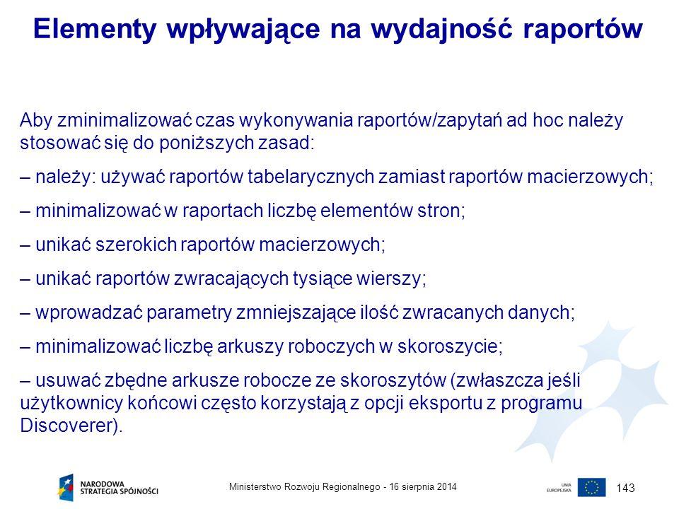 Elementy wpływające na wydajność raportów