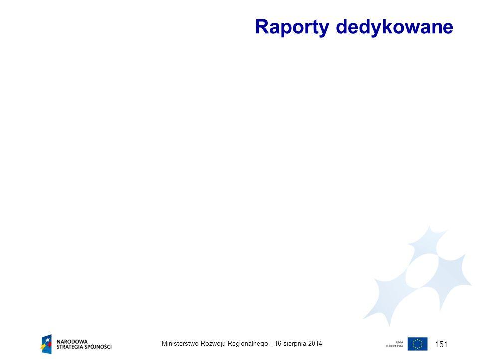 Raporty dedykowane 151 Ministerstwo Rozwoju Regionalnego -