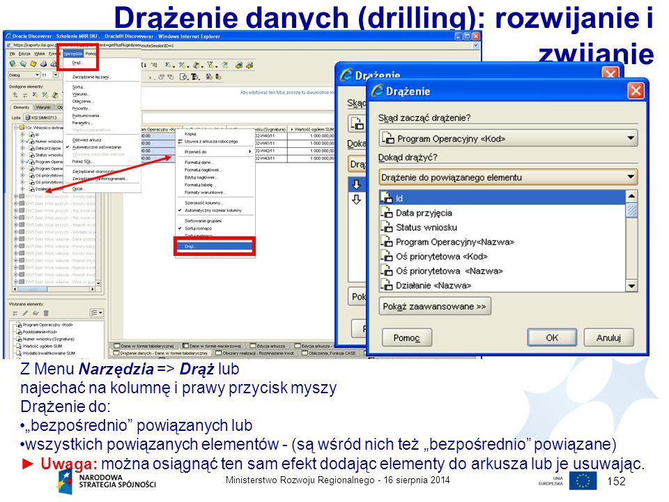 Drążenie danych (drilling): rozwijanie i zwijanie