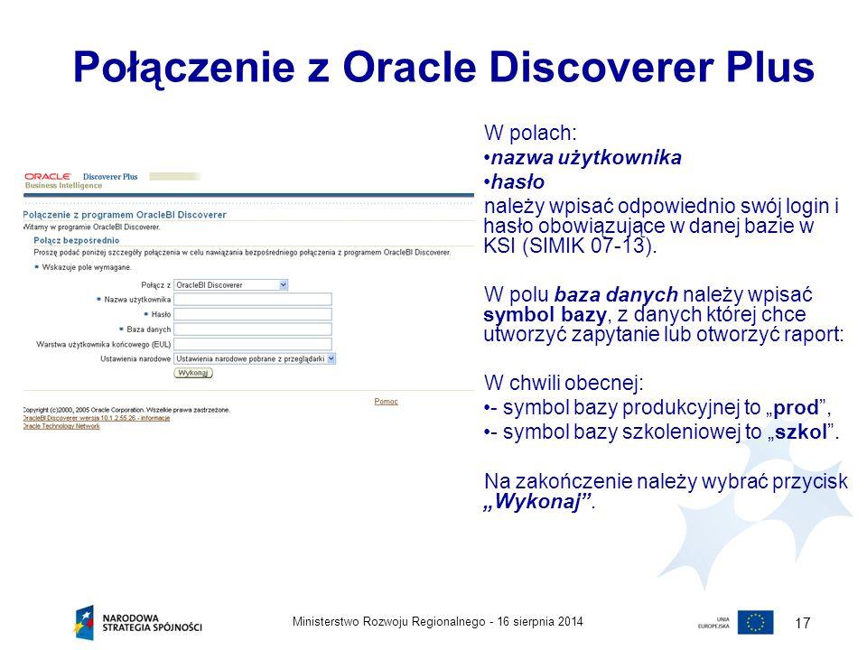 Połączenie z Oracle Discoverer Plus