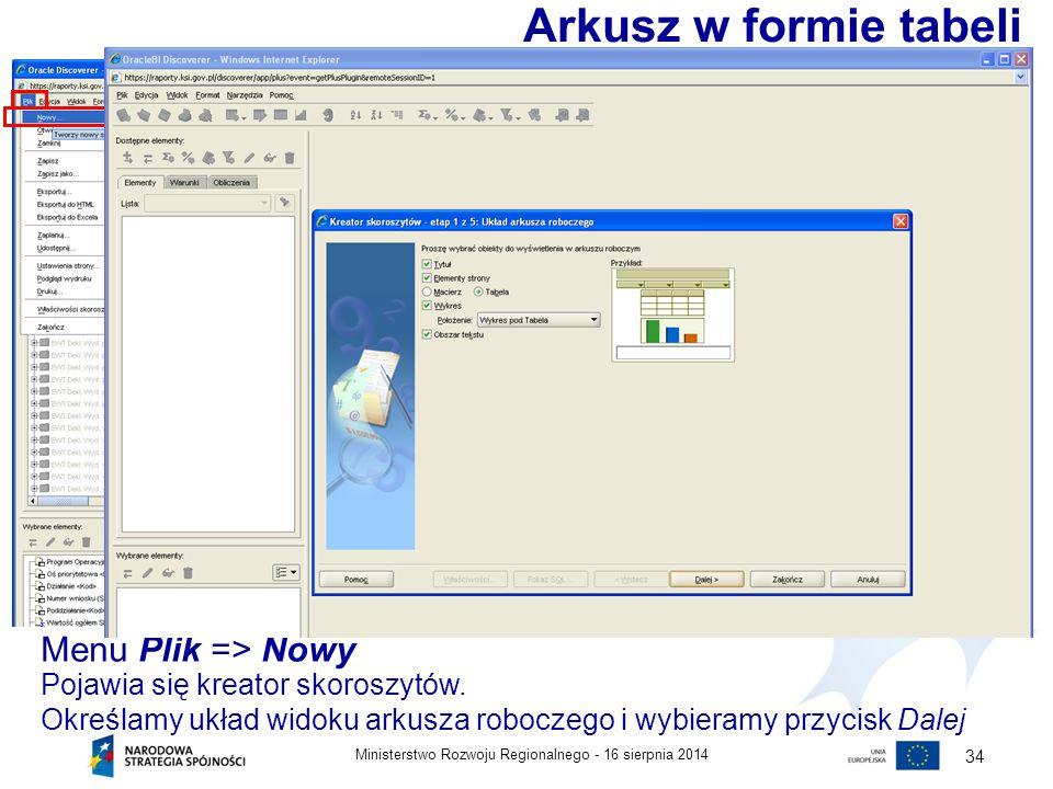 Arkusz w formie tabeli Menu Plik => Nowy