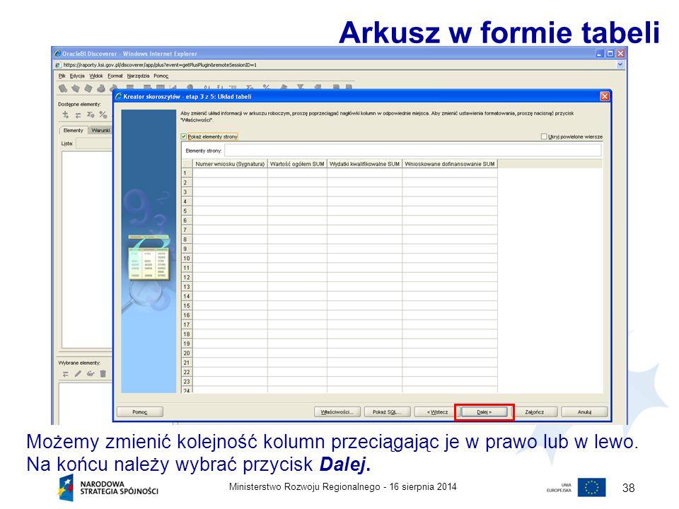 Arkusz w formie tabeli Możemy zmienić kolejność kolumn przeciągając je w prawo lub w lewo. Na końcu należy wybrać przycisk Dalej.
