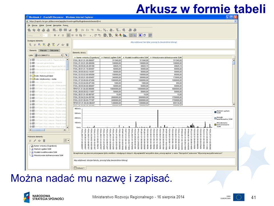 Arkusz w formie tabeli Można nadać mu nazwę i zapisać.