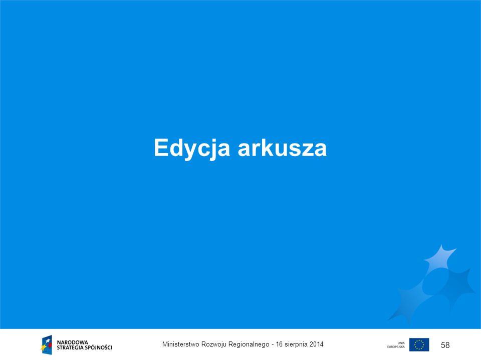 Edycja arkusza Ministerstwo Rozwoju Regionalnego - 5 kwietnia 2017