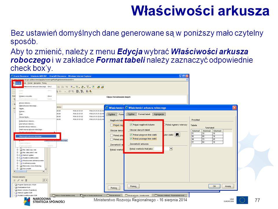 Właściwości arkusza Bez ustawień domyślnych dane generowane są w poniższy mało czytelny sposób.