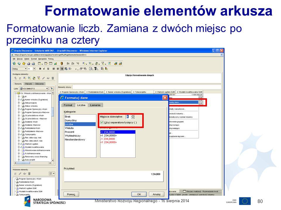 Formatowanie elementów arkusza