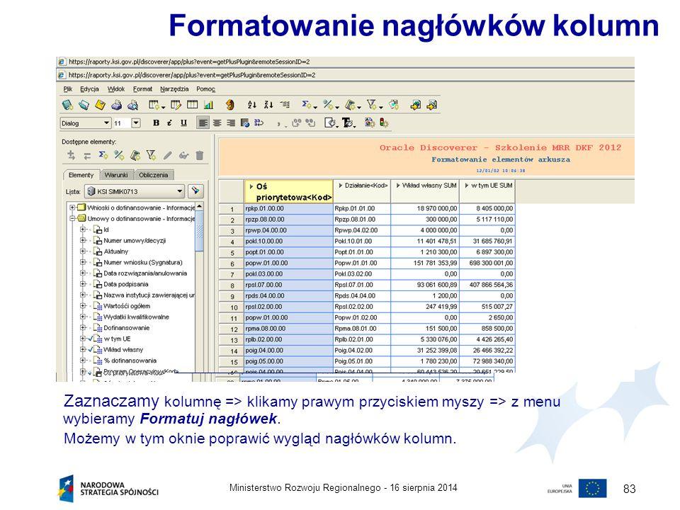 Formatowanie nagłówków kolumn