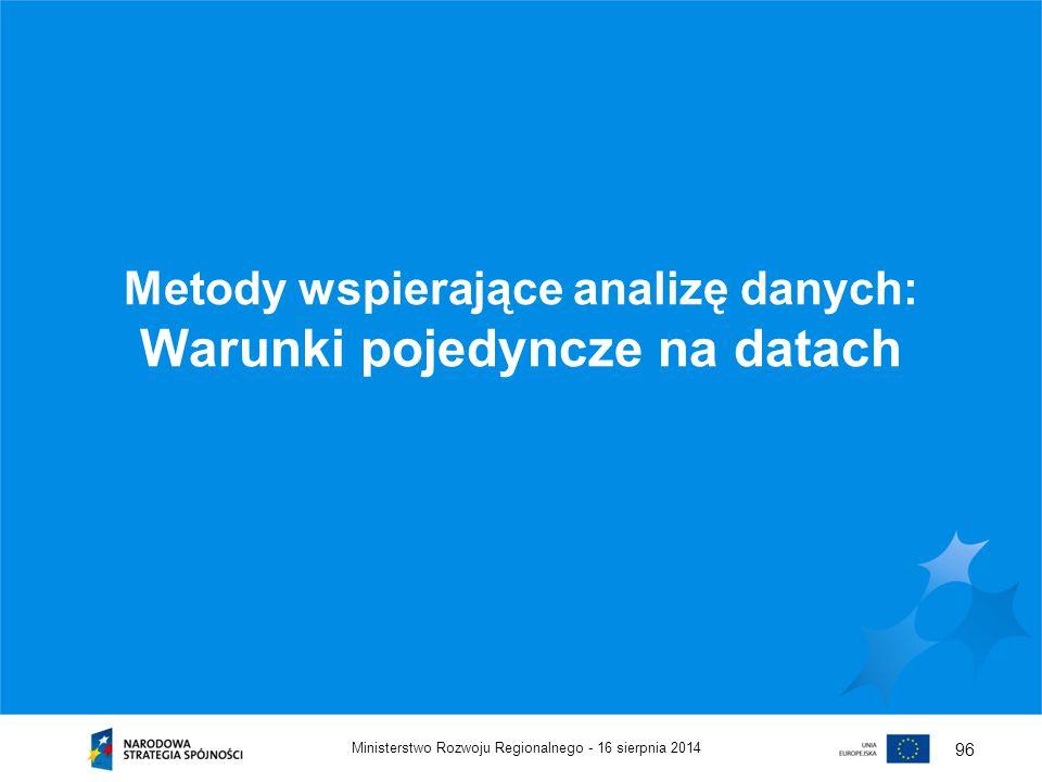 Metody wspierające analizę danych: Warunki pojedyncze na datach