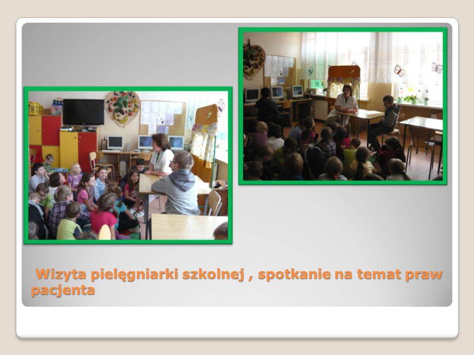 Wizyta pielęgniarki szkolnej , spotkanie na temat praw pacjenta