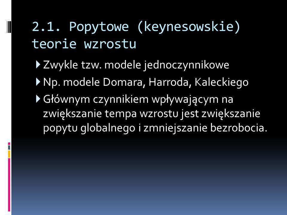 2.1. Popytowe (keynesowskie) teorie wzrostu