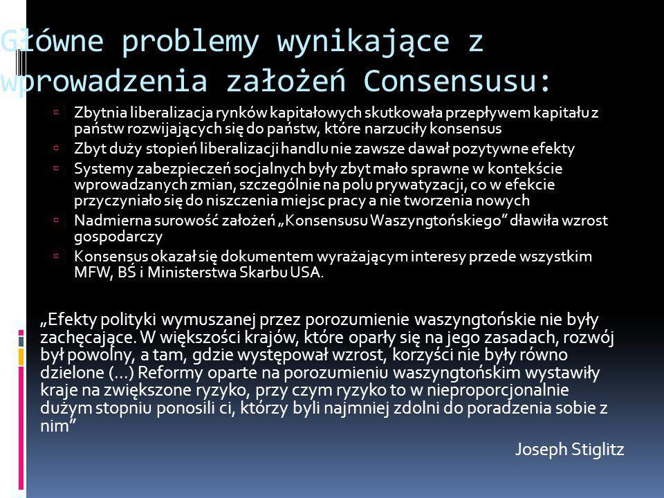 Główne problemy wynikające z wprowadzenia założeń Consensusu:
