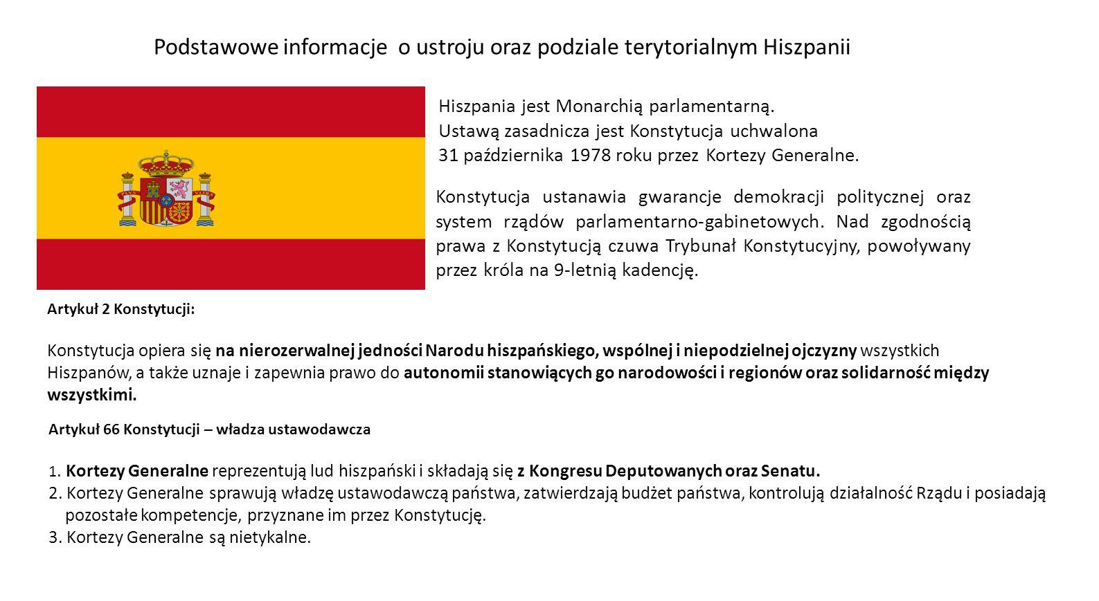 Podstawowe informacje o ustroju oraz podziale terytorialnym Hiszpanii