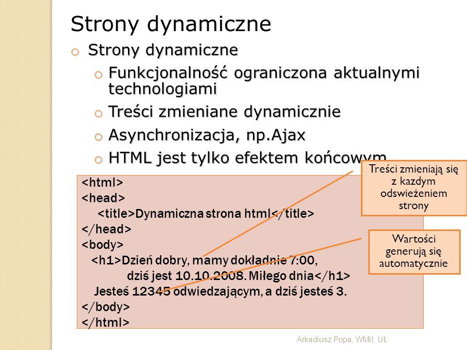 Strony dynamiczne Strony dynamiczne