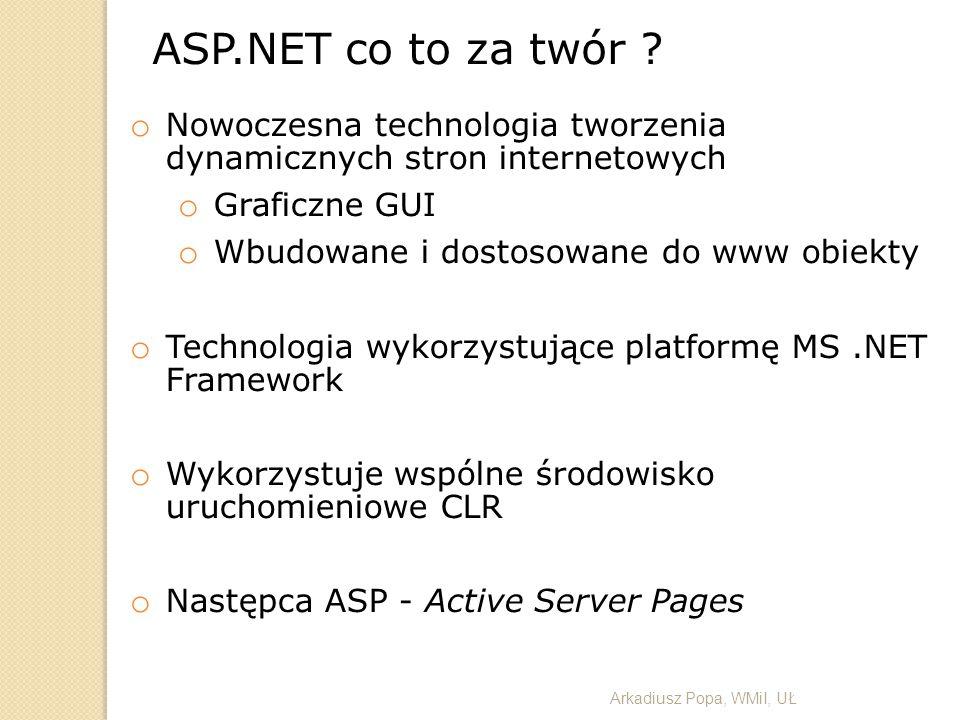 ASP.NET co to za twór Nowoczesna technologia tworzenia dynamicznych stron internetowych. Graficzne GUI.