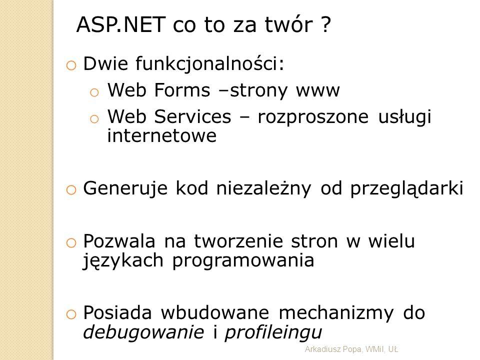ASP.NET co to za twór Dwie funkcjonalności: Web Forms –strony www