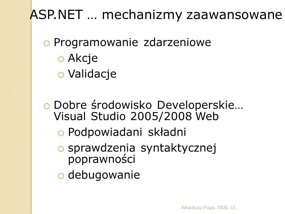 ASP.NET … mechanizmy zaawansowane