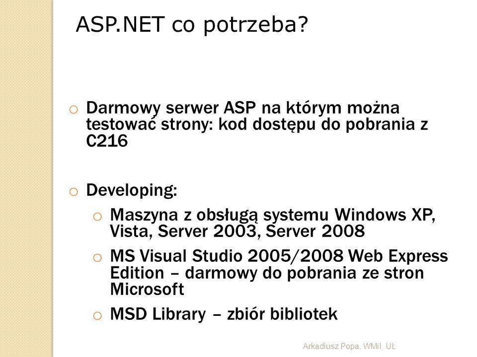 ASP.NET co potrzeba Darmowy serwer ASP na którym można testować strony: kod dostępu do pobrania z C216.