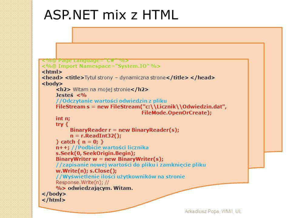 ASP.NET mix z HTML <%@ Page Language= C# %>
