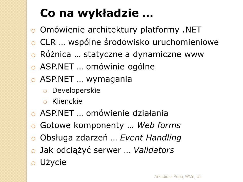 Co na wykładzie … Omówienie architektury platformy .NET