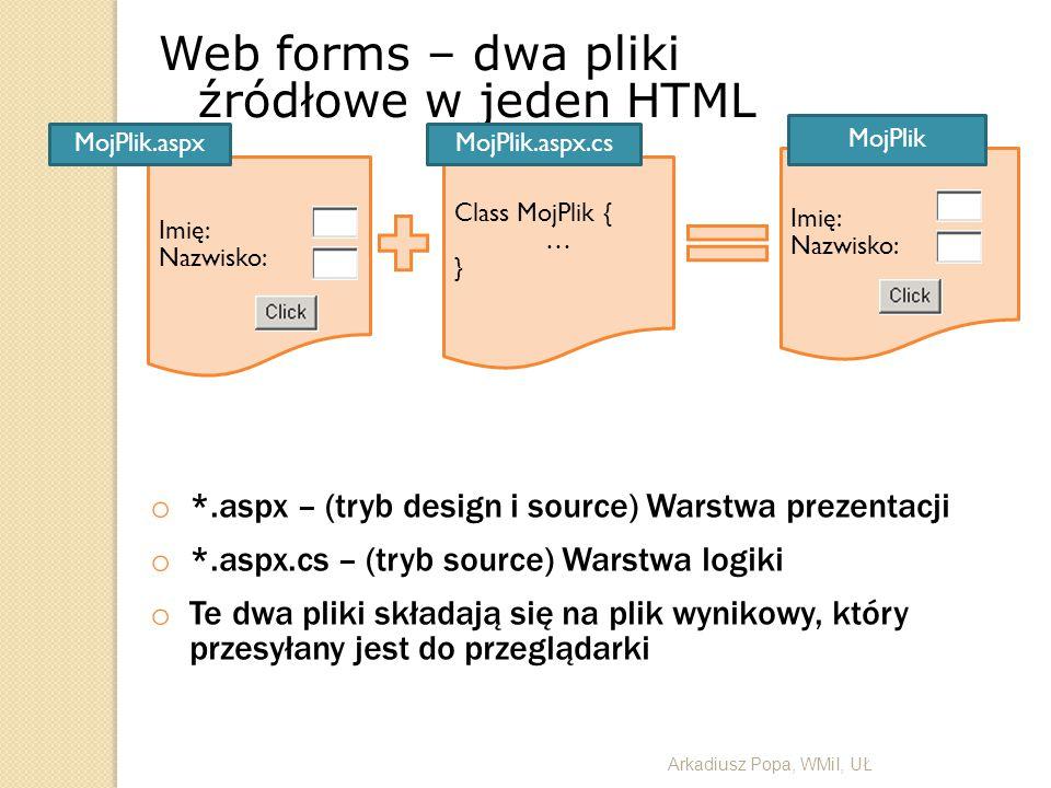 Web forms – dwa pliki źródłowe w jeden HTML
