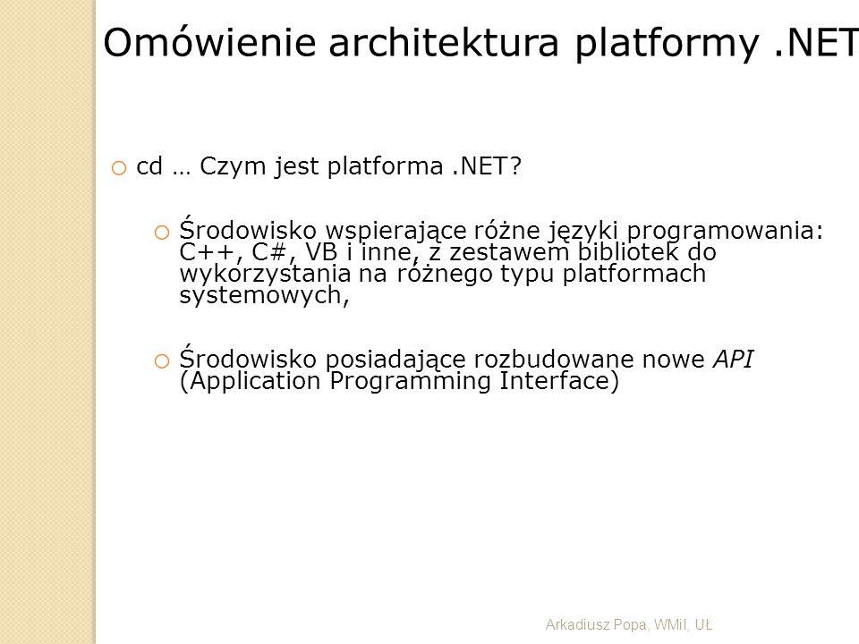 Omówienie architektura platformy .NET