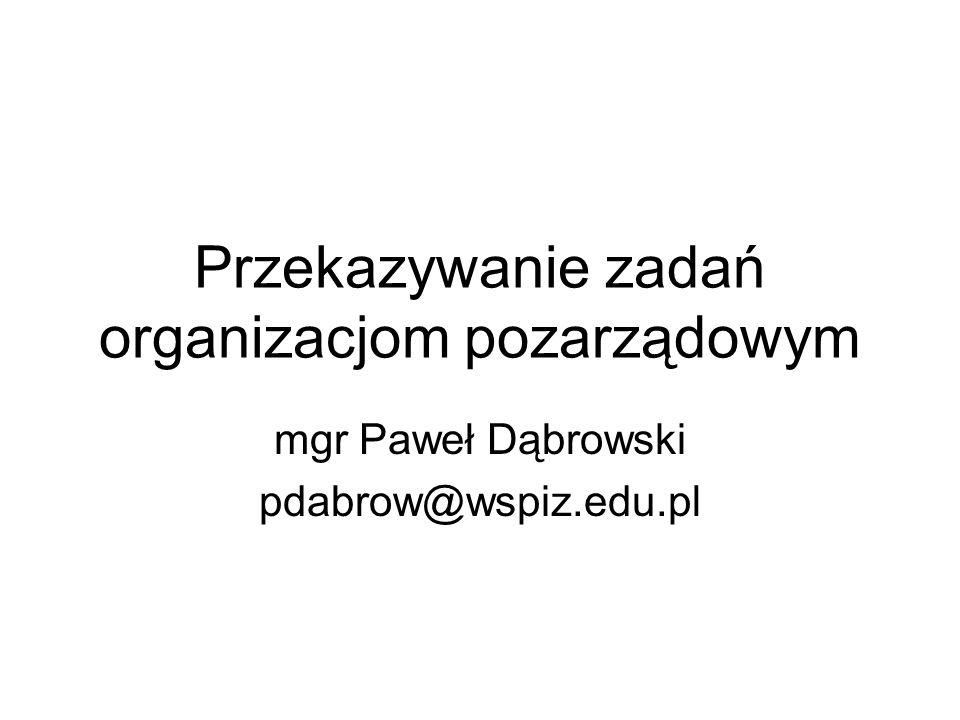 Przekazywanie zadań organizacjom pozarządowym