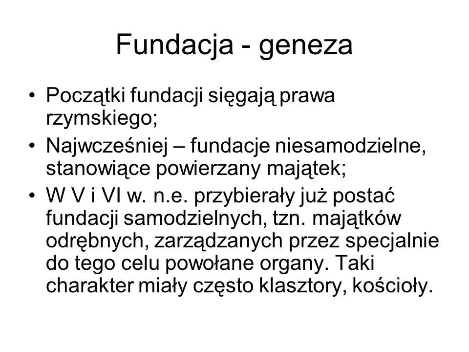 Fundacja - geneza Początki fundacji sięgają prawa rzymskiego;