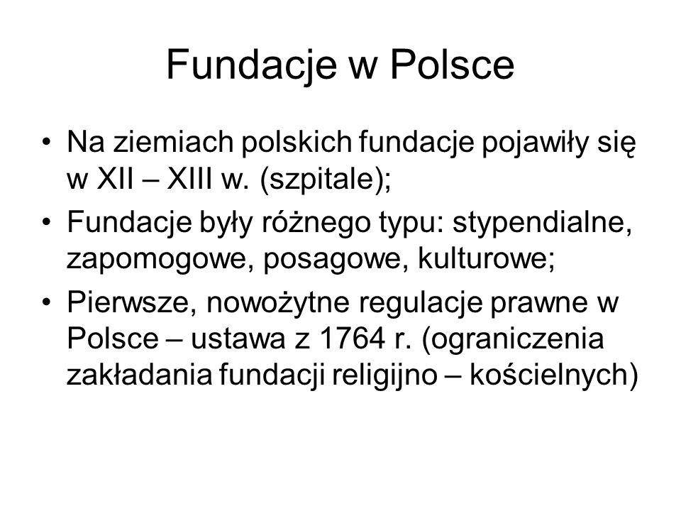 Fundacje w Polsce Na ziemiach polskich fundacje pojawiły się w XII – XIII w. (szpitale);