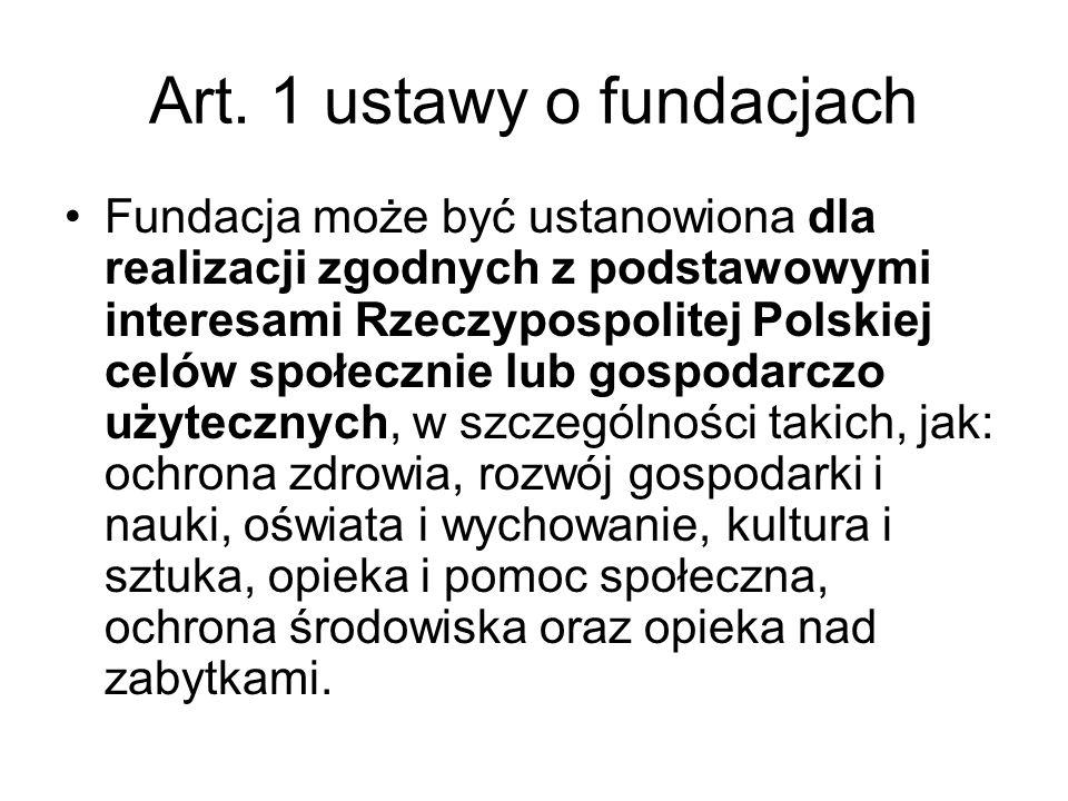 Art. 1 ustawy o fundacjach