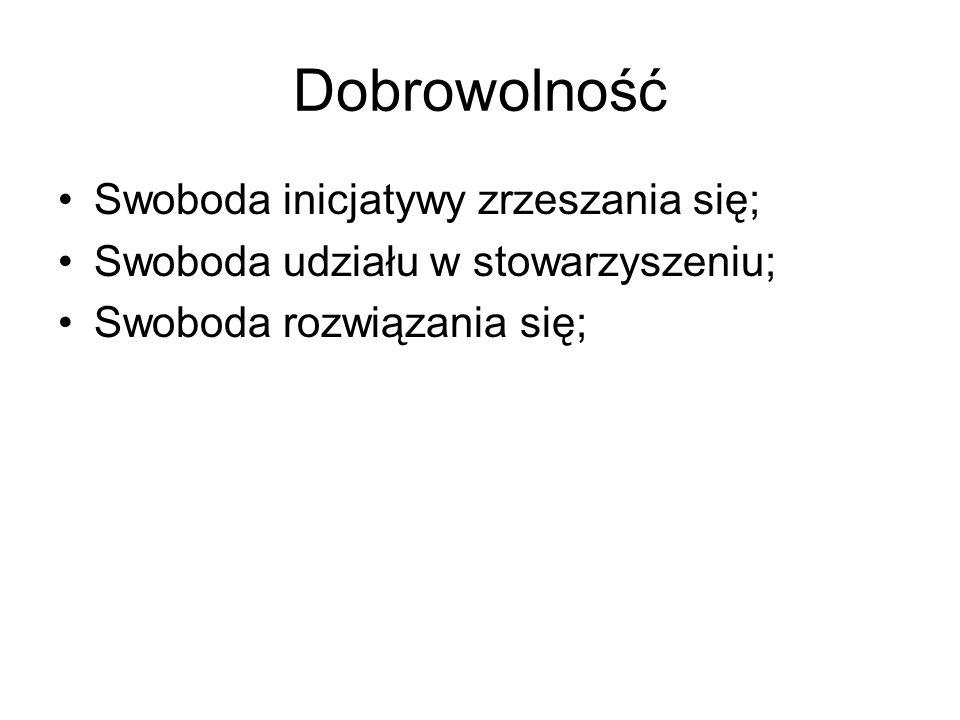 Dobrowolność Swoboda inicjatywy zrzeszania się;